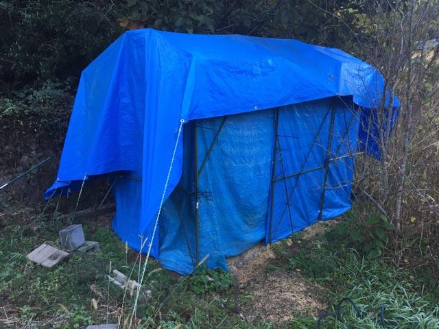 周りをブルーシートで覆った仕込み小屋