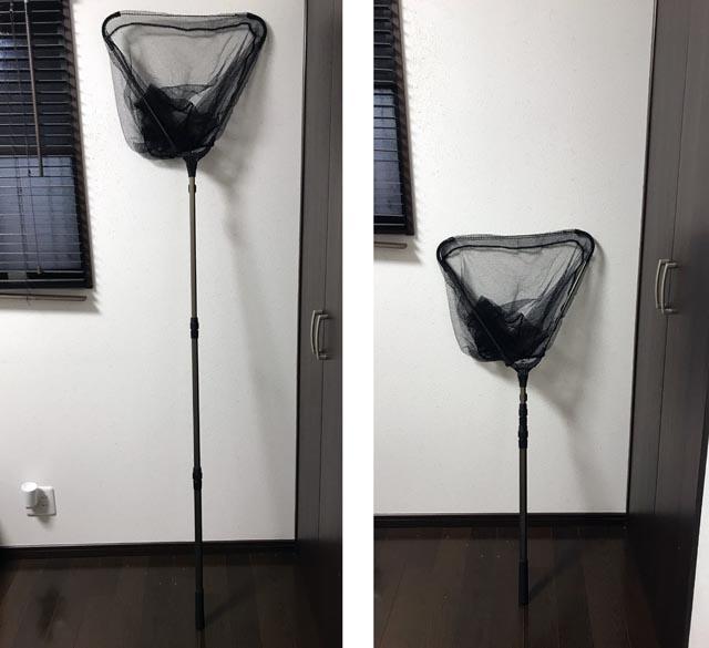 折り畳み式のタモを猫捕獲網に使う
