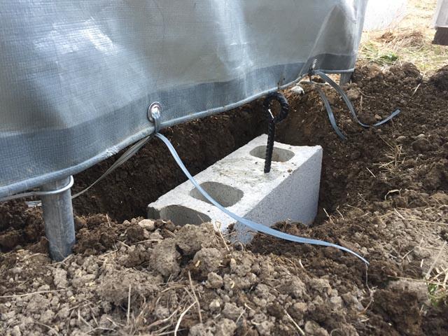 重量ブロック製の重りを土中に埋める