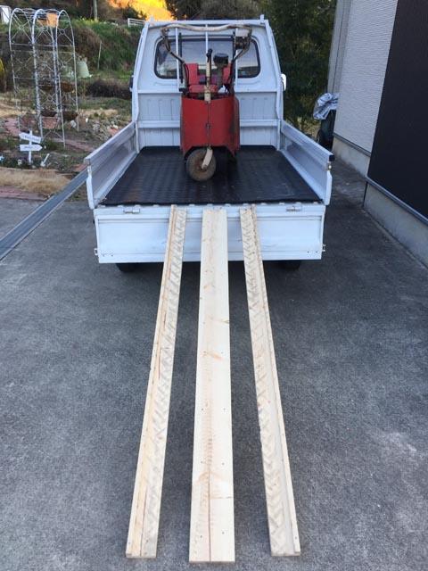 自作木製ラダーレールを使って積載
