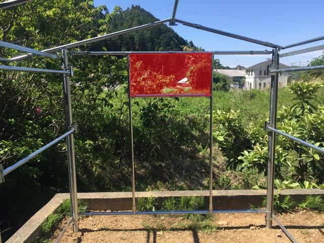 パイプ小屋の窓枠
